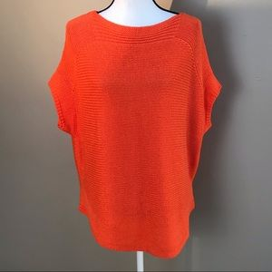 Jcp Orange Knitted Short Sleeved Sweater Top L